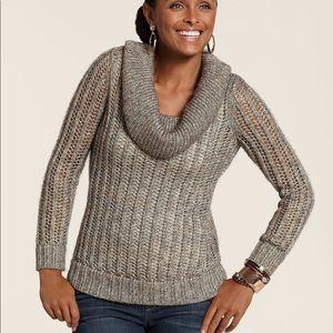 Chico's NWT Mia Metallic Cowl Neck Sweater LS Sz 1